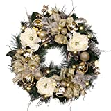 Valery Madelyn Pre-Lit 24 Inch Elegant Champagne Gold Christmas Wreath with Shatterproof Ball Ornaments, Ribbon, Artificial Simulation Flower, Battery Operated 20 LED Lights