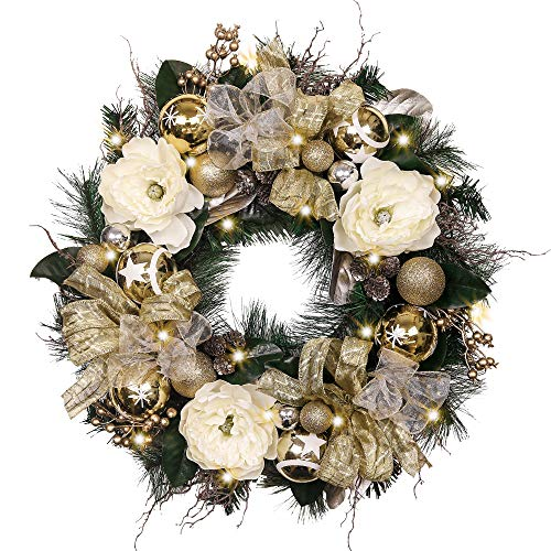 Valery Madelyn Pre-Lit 24 Elegant Champagne Gold Christmas Wreath with Ball Ornaments, Ribbon and Flowers, Battery Operated 20 LED Lights