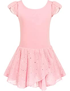 eab3a20e8 Amazon.com  Girls Dance Ballet Leotard Flying Short Sleeve Flowy ...