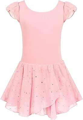 Arshiner Girls Ruffle Sleeve Ballet Dance Dress Glitter Tutu Skirted Leotard
