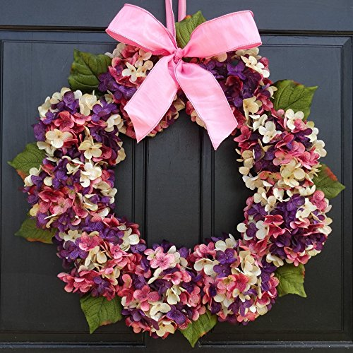 Marbled Hydrangea Easter Spring Wreath for Front Door Decor; Pink, Cream and Purple; Small - Extra Large Sizes from New England Home Accents
