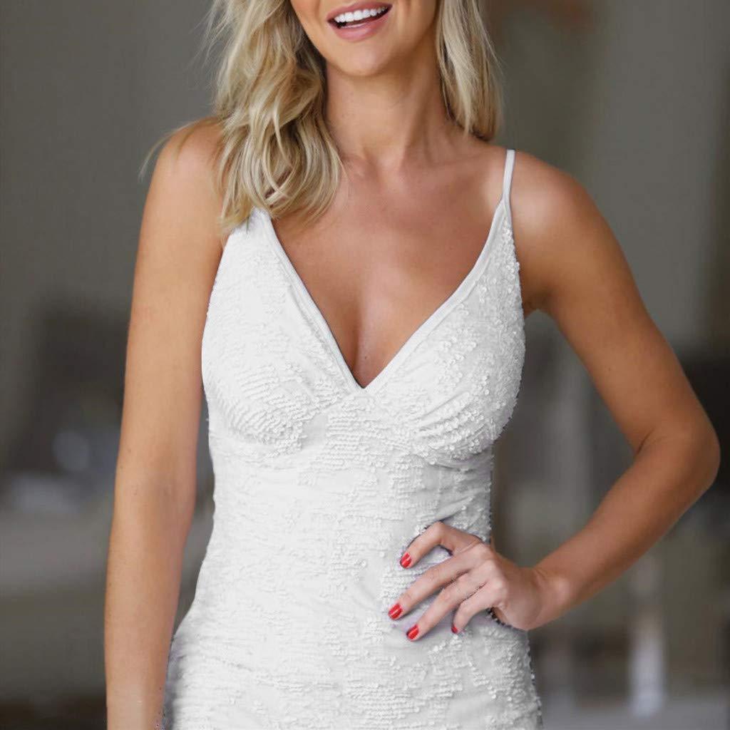 White,S Botrong Spaghetti Strap Dresses for Women Summer Sequin V Neck Sleeveless Split Knee-Length Dress