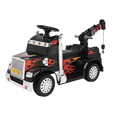 Hanyoo Toy Vehicles Small Crane Single Drive 6V20W Battery 6V4.5AH 1 with 2.4G Remote Control Music Board Black: Toys & Games