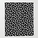 Society6 Bingo - black and white sprinkle retro modern pattern print monochromatic trendy hipster 80s style Throw Blankets 51'' x 60'' Blanket