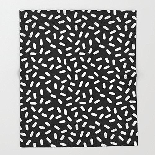 Society6 Bingo - black and white sprinkle retro modern pattern print monochromatic trendy hipster 80s style Throw Blankets 51'' x 60'' Blanket
