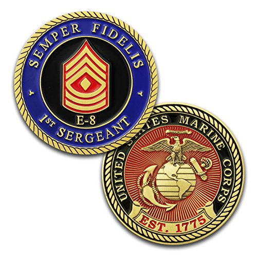 (Marine Corps E8 Challenge Coin! USMC 1stSgt Rank Military Coin. First Sergeant Challenge Coin! Designed by Marines For Marines - Officially Licensed Product!)
