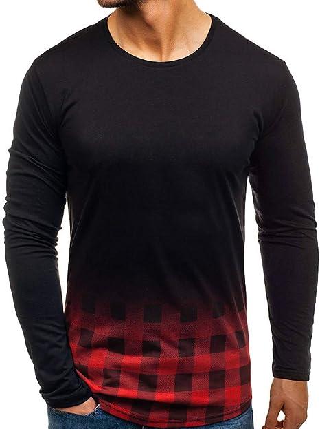 LuckyGirls Camisetas Color de Degradado Cuadros Camisa Casual ...