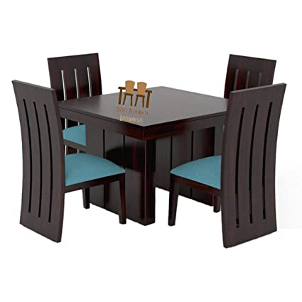 Shree Jeen Mata Enterprises Sheesham Wooden Dining Table Set With 4 Chairs Teak Wood Balcony Table Chair Set Standard Teal Blue Amazon In Home Kitchen