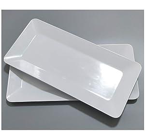 17-Inch Melamine Serving Platters/Rectangular Trays for Party|Set of 2,White Color,100% Melamine,Dishwasher Safe,BPA Free