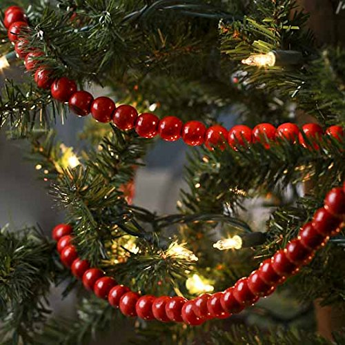 - Factory Direct Craft  Red Wooden Bead 9 Foot Christmas Garlands