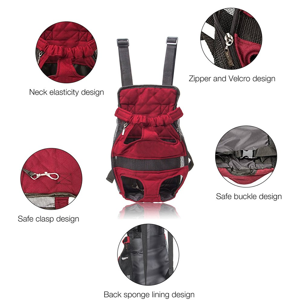 Pet Carrier Backpack Adjustable Safe Cat Dog Front Bags Lightweight Head Legs Tail Out Hands Free for Traveling Hiking Camping (XL, Red) Petcomer