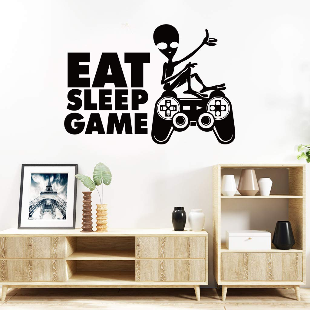 Eat Sleep Game Wall Decals, Video Game Boy Wall Stickers, Creative Gaming Quote Wallpaper Décor, Gamer Controller Removable Poster Art Murals for Net Bar Kids Boys Playroom Bedroom Wall Decor