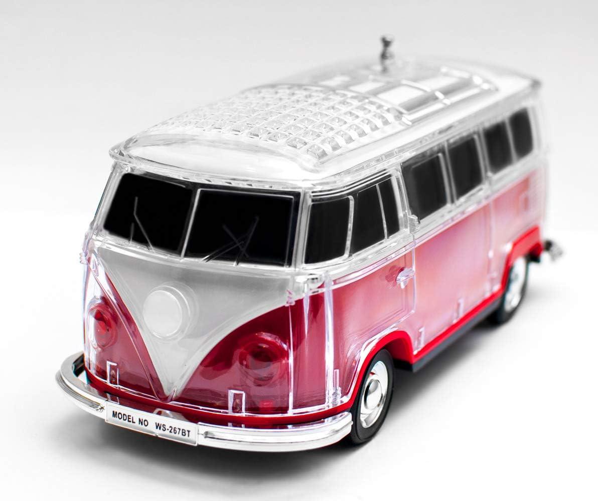 JeVx Altavoz Bluetooth Furgoneta Volkswagen T1 T2 - con Bateria Recargable Luz Led USB para Pendrive Lector de Tarjetas Micro SD Radio FM Portatil Reproductor de Musica Mp3 Maqueta de VW Van (Rojo)