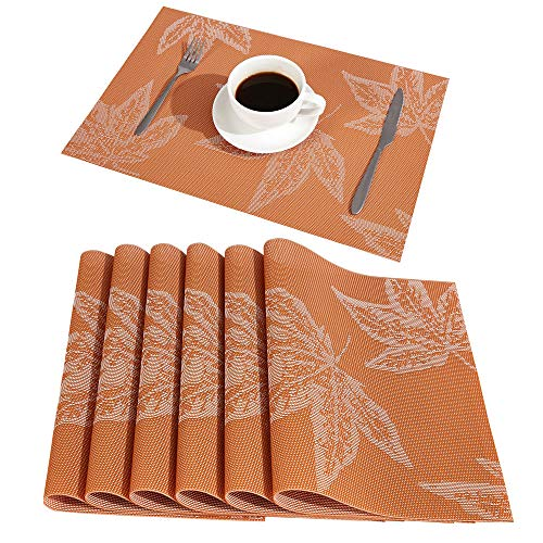 DOLOPL Placemats Maple Leaf Place Mats Fall Placemats Set of 6 Easy to Clean Heat Resistant Waterproof Non Slip for Dining Kitchen Harvest Season Thanksgiving Day Halloween(Orange)