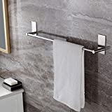 Bathroom Wall Cabinets with Towel Bar KES Self Adhesive 16-Inch Bathroom Towel Bar Brushed SUS 304 Stainless Steel Bath Wall Shelf Rack Hanging Towel Stick On Sticky Hanger Contemporary Style, A7000A