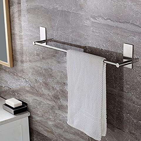 KES Self Adhesive 16-Inch Bathroom Towel Bar Brushed SUS 304 Stainless Steel Bath Wall Shelf Rack Hanging Towel Stick On Sticky Hanger Contemporary Style, A7000A