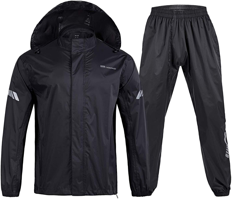 SWISSWELL Men's Rain Suit Waterproof Lightweight Hooded Rainwear for Golf,Hiking,Travel (Jacket & Trouser Suit) (A-Black Rain Suit, Large) by SWISSWELL