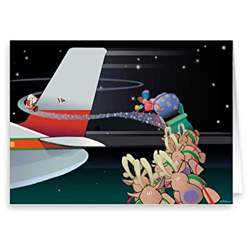 funny airplane christmas card 18 cards envelopes aviation cards - Airplane Christmas Cards
