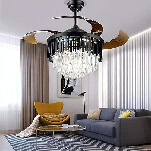 Healer 42 Inch Retractable Ceiling Fan with Remote Control 3 Lights Level Black, Modern Luxury Crystal Chandelier Fans Fandelier Dining Lamp for Living Room Bedroom