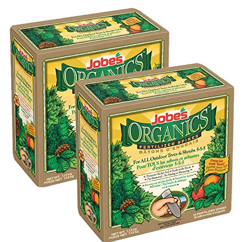 Jobe's Organics Tree Fertilizer Spikes, 5-5-5 Time Release Fertilizer for All Shrubs & Trees (2) (Best Fertilizer For Shrubs)