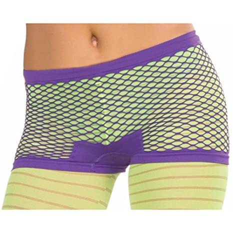 Forum Novelties Club Candy Neon Fishnet Costume Boy Shorts Adult: Purple One Size