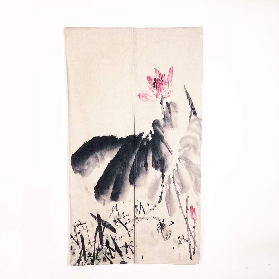 MYRU Japanese Noren Lotus Doorway Curtain Tapestry 33.5 Width x 59 Long Ink Lotus