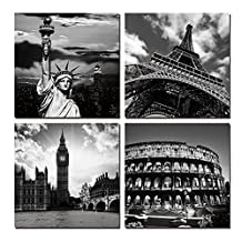 Rihe Modern 4 Panels 12x13inch Giclee Canvas Prints World Famous Buildings Black and White Landscape Pictures Paintings on Canvas Wall Art Ready to Hang for Bedroom Home Office Decorations
