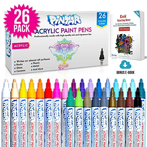 PINTAR - (26-Pack) Acrylic Paint markers For Rock Painting, Stone, Ceramic, Glass, Wood - Works On Most Surfaces Water Based vibrant Colors - Water Resistant Office Supplies, Arts And Crafts.