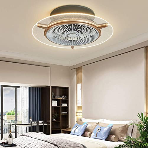 Ceiling Fan with Light, Remote Control with 3-gear Fan Speed and 3-color Lighting Modes, Semi Flush Mount Enclosed Fandelier 22 inch, Rose Gold