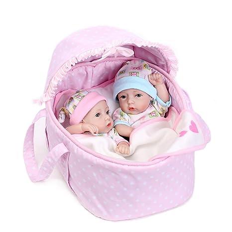 Decdeal - Reborn Muñecos Bebés Gemelos Niño y Niña de Silicona 10 Pulgadas 25cm (Contiene