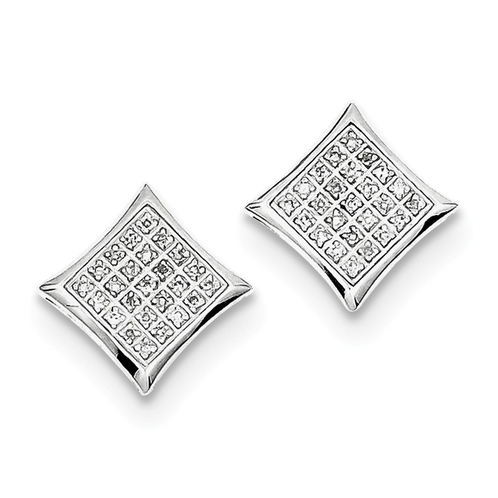 Sterling Silver Rhodium Diamond Square Shaped Screwback Post Earrings