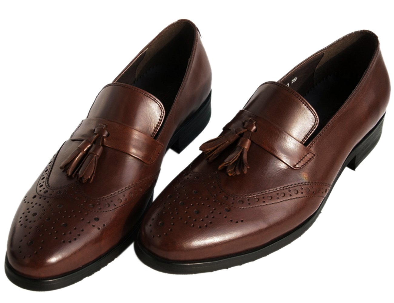 Santimon Brown Shoes Perforated Tassel Slip-On Genuine Leather Venetian-Style Dress Shoes by 8.5 D(M) US