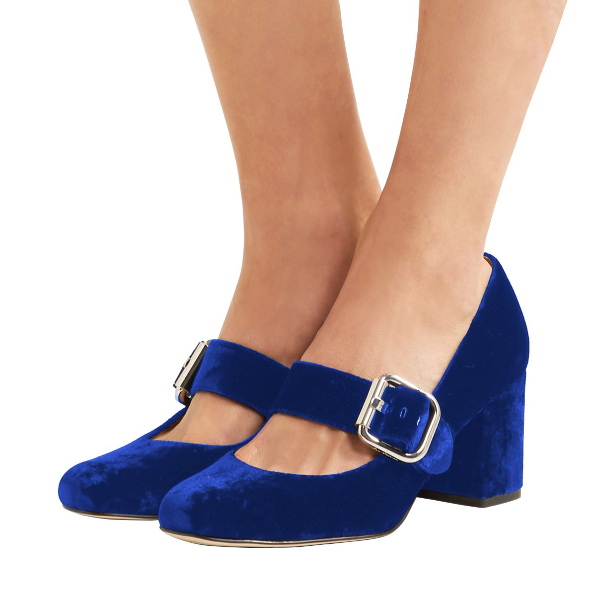 XYD Comfort Marry Jane Pumps Velvet Chunky Heel Square Toe Buckle Dress Shoes for Women Size 11 Blue