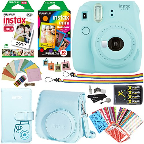 Fujifilm Instax Mini 9 Instant Camera (Ice Blue), 1 Rainbow Film Pack 10 prints, 1 twin film Pack 20 prints, (White) Instant Film, case, 4 AA Rechargeable Battery's with charger, Accessory Bundle by Ritz Camera