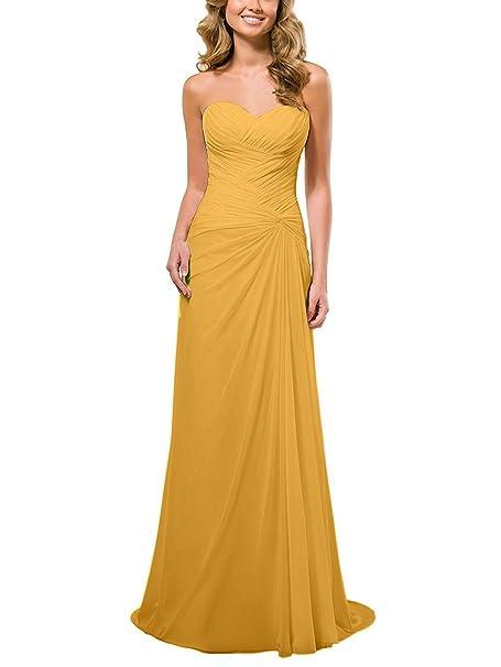 JAEDEN A-Line Gasa Vestido de la Dama de Honor Largo Sin Tirantes Vestido de