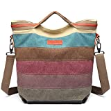 Kono Women Canvas Rainbow Multi-Color Striped Hobo Handbag Cross Body Messenger Shoulder Bag Satchel (1679)