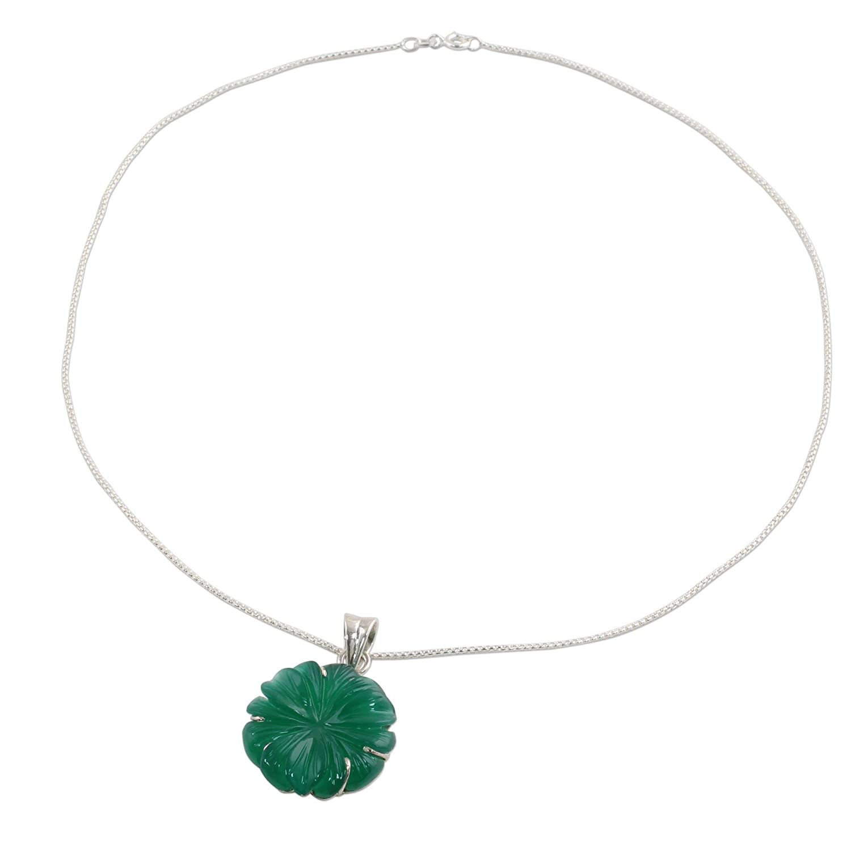 Green Petals 18 NOVICA Onyx .925 Sterling Silver Pendant Necklace