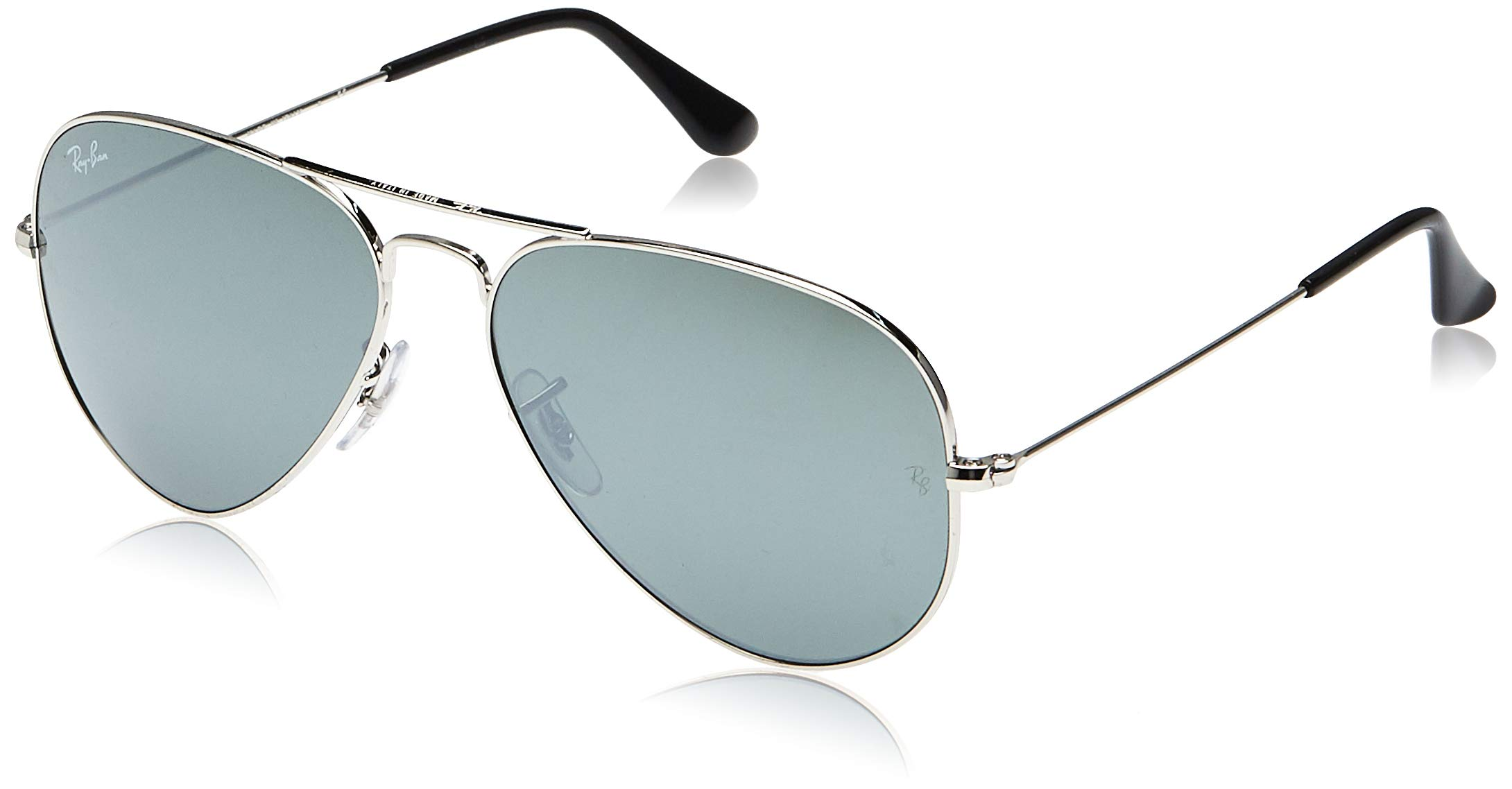 RAY-BAN RB3025 Aviator Large Metal Sunglasses, Silver/Silver Mirror, 58 mm by RAY-BAN