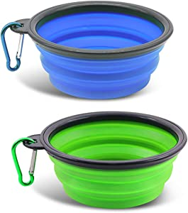 Yanvsvda Collapsible Dog Bowl, 2 Pack Portable Pet Feeder, Foldable Expandable for Dog or Cat Food Water Feeding, Travel Bowl Free Carabiner (Small)