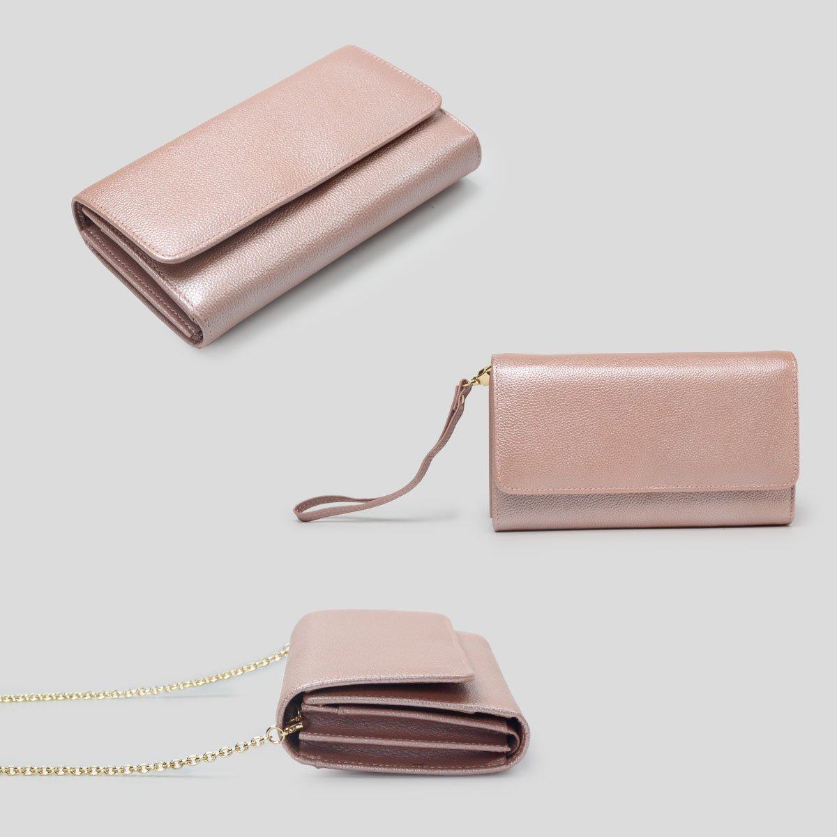 Women RFID Leather Trifold Wallet Cossbody Purse Clutch with Chain Strap (Rose Gold) by Bveyzi (Image #6)