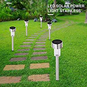 YHG 24 PCS Garden Outdoor Stainless Steel LED Solar Lights Lamp Landscape Path