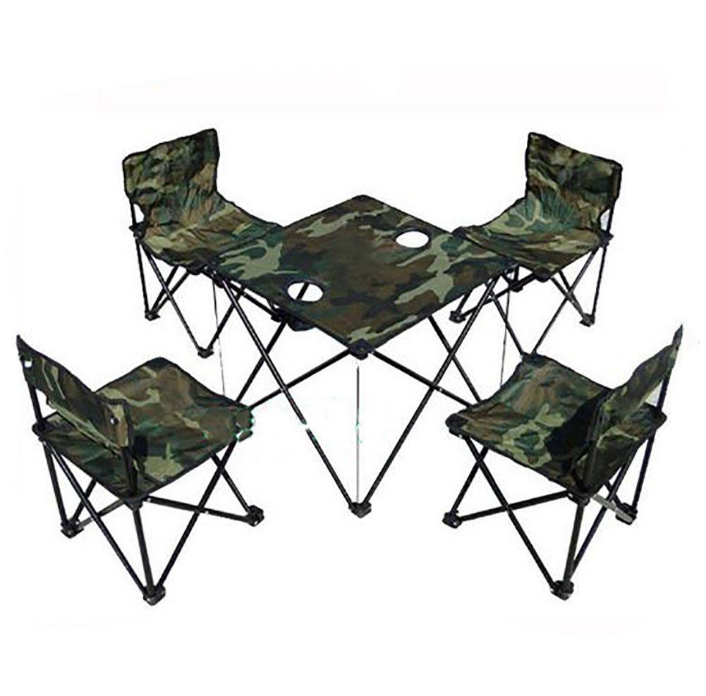 KOKR Outdoor Klappstühle Tisch und Stuhl Set, Camouflage
