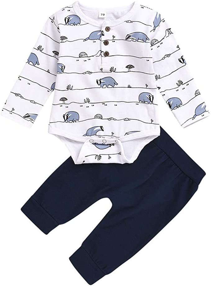 Xuefoo Newborn Baby Boys Strampler Cartoon Print Langarm Schlafanzug Einteilige Kleidung