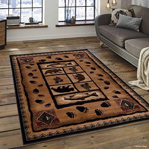 Allstar 5x7 Mocha Cabin Rectangular Accent Rug with Chocolate and Espresso Wildlife Bear and Bear Paw Print Design (5' 2