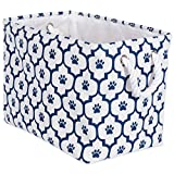 Bone Dry DII Small Rectangle Pet Toy and Accessory Storage Bin, 14x8x9, Collapsible Organizer Storage Basket for Home Décor, Pet Toy, Blankets, Leashes and Food-Navy Lattice Paw Print