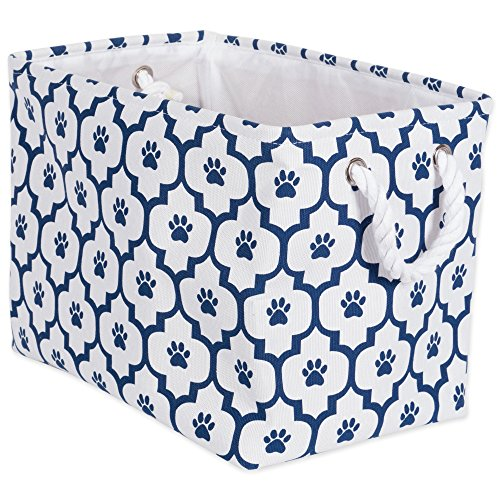 "DII Bone Dry Small Rectangle Pet Toy and Accessory Storage Bin, 14x8x9"", Collapsible Organizer Storage Basket for Home Décor, Pet Toy, Blankets, Leashes and Food-Navy Lattice Paw Print"