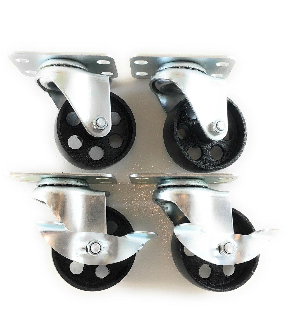 3'' inch Metal Plate Casters, 2 Swivel, 2 Swivel/Brake - Dual Top Bearings - Heavy Duty - Foghorn Construction