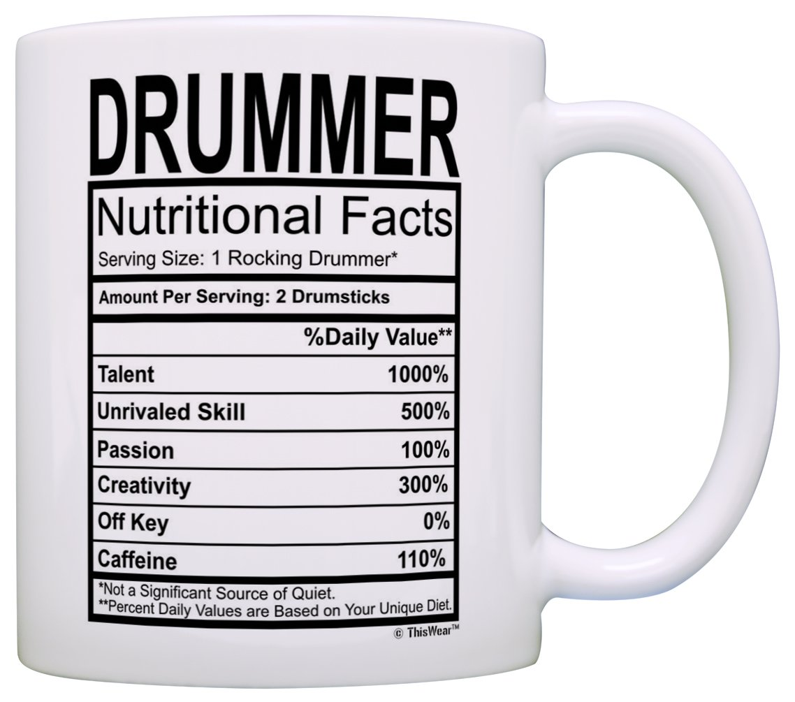 Amazon.com: Drummer Gifts Drummer Nutritional Facts Label Percussion Drum Player Gift Coffee Mug Tea Cup White: Home Audio & Theater