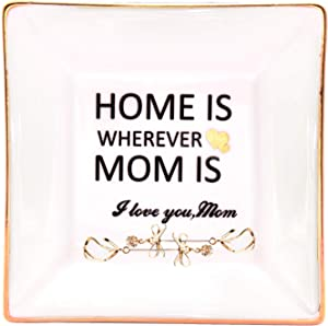 LEBOO Gift for Mom from Daughter or Son, Ceramic Ring Dish Decorative Jewelry Tray - Home is Wherever Mom is, Gifts for Mother's Day Birthday Thanksgiving Day Christmas
