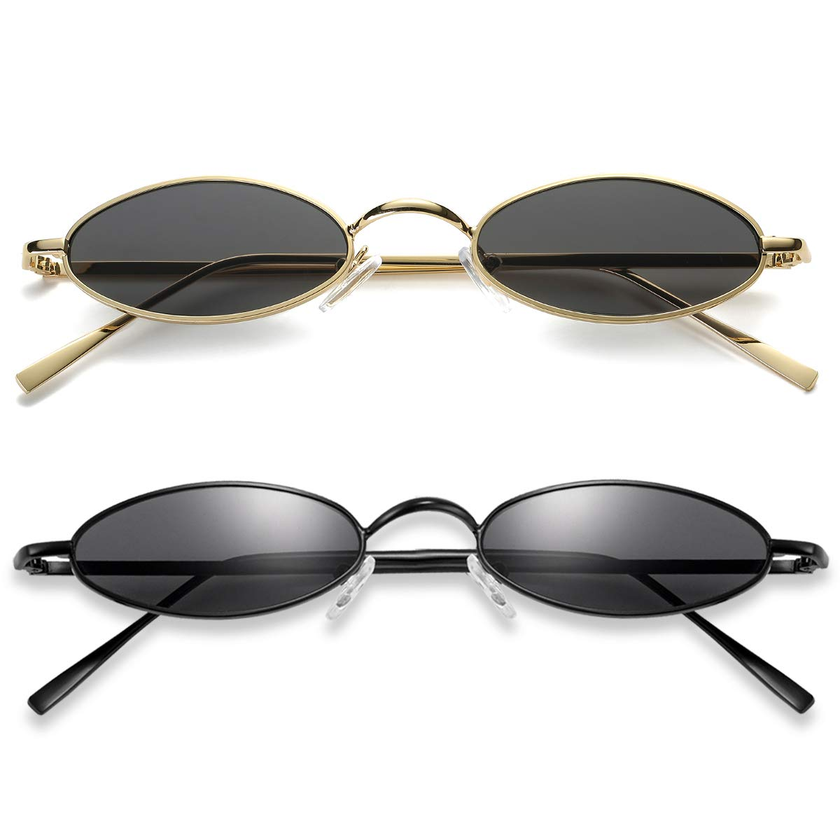 Vintage Oval Sunglasses For Women – Feirdio Small Metal Frame Candy Color 2265